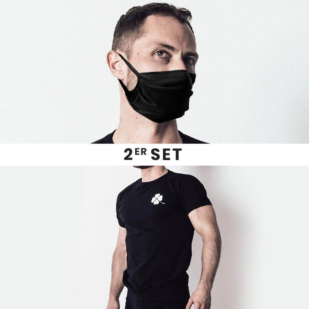 Maske + Shirt Set schwarz 1