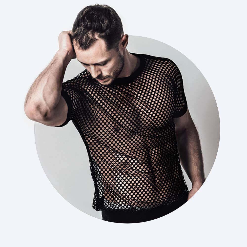 Oberteil Blank aus netzmuster in schwarz mit der Unterwäsche Sascha von Spitzenjunge